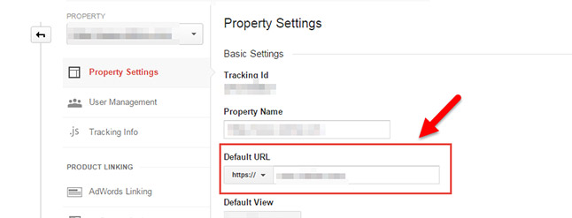 Where to add your new HTTPS site to the default site in Google Analytics