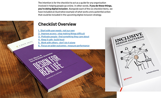 Image montage of the Design for Real Life book, the Government Digital Service's checklist, and the Inclusive Design Patterns book