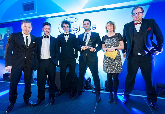 The team picking up the Best Shared Hosting Award