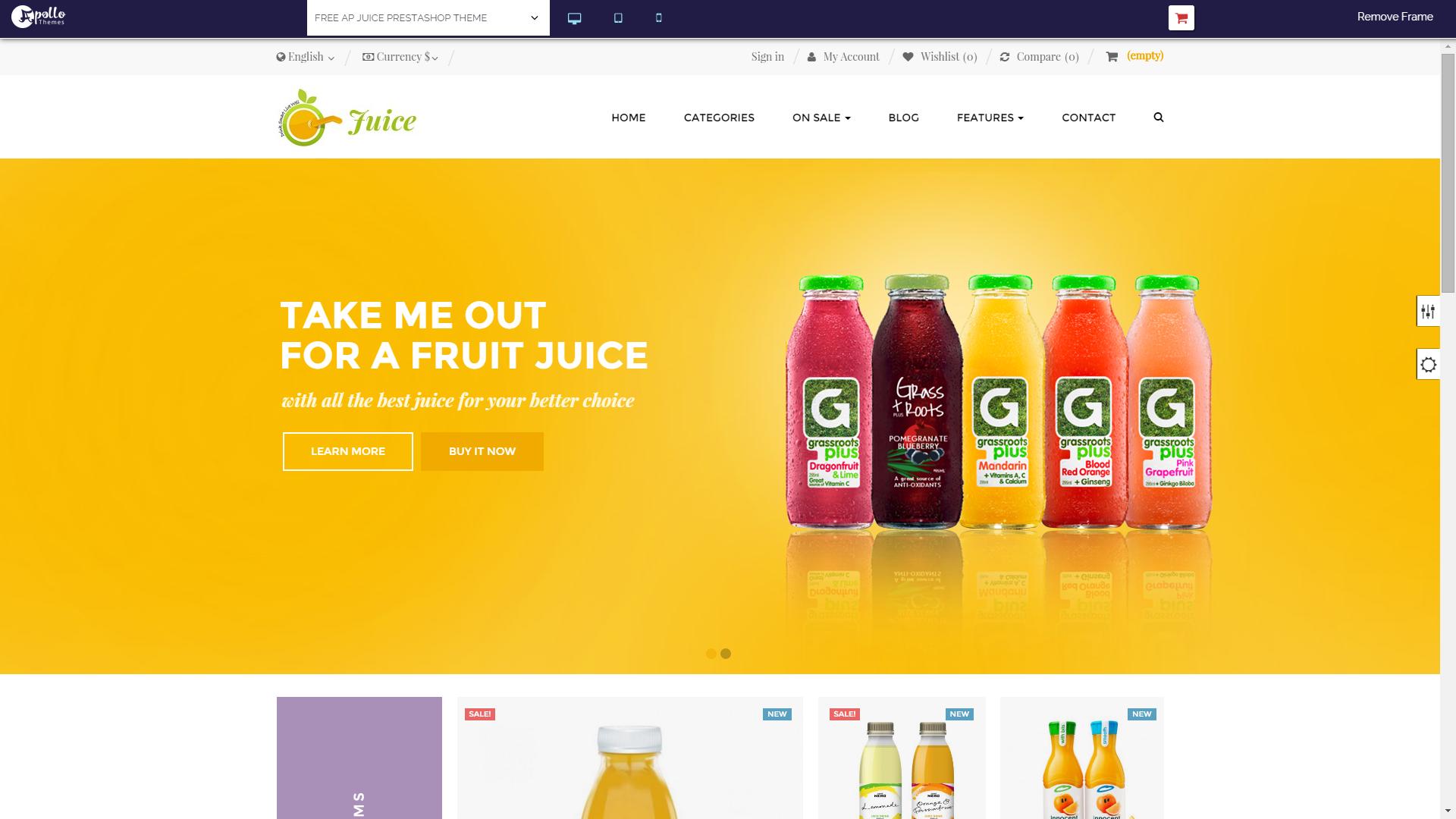 Screenshot of AP Juice e-commerce template for PrestaShop