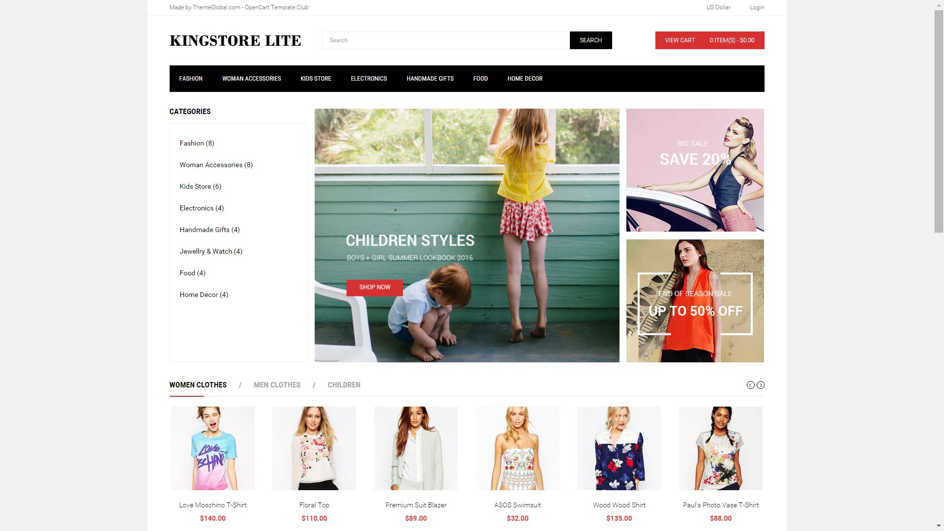 Screenshot of Kingstore Lite e-commerce template for OpenCart