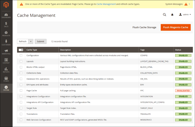 Screenshot of Magento's built-in caching system