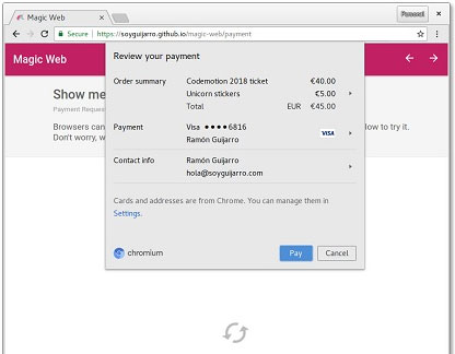 The Magic Web example of the payment request feature in a desktop browser