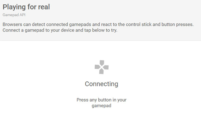 The Magic Web example of gamepad control in a browser