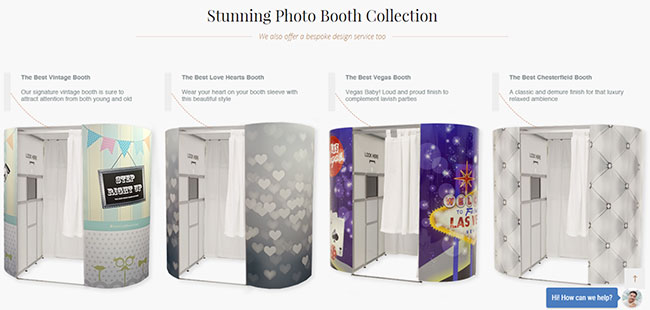 A section of the site showing off the photobooths