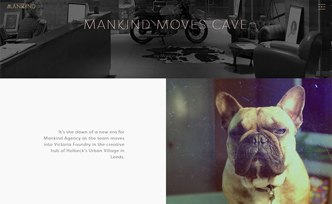 Screenshot of Mankind's blog page about their new office