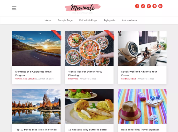 an example of the marinate wordpress theme