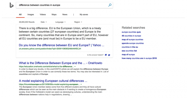 An example of a Bing search result for the term difference between countries in Europe