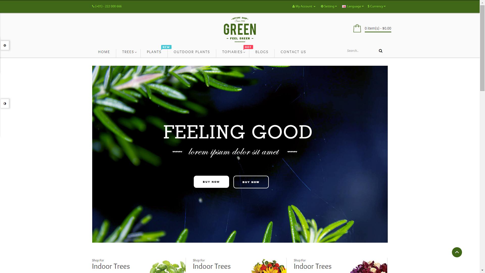 Screenshot of Pav Flower e-commerce template for OpenCart