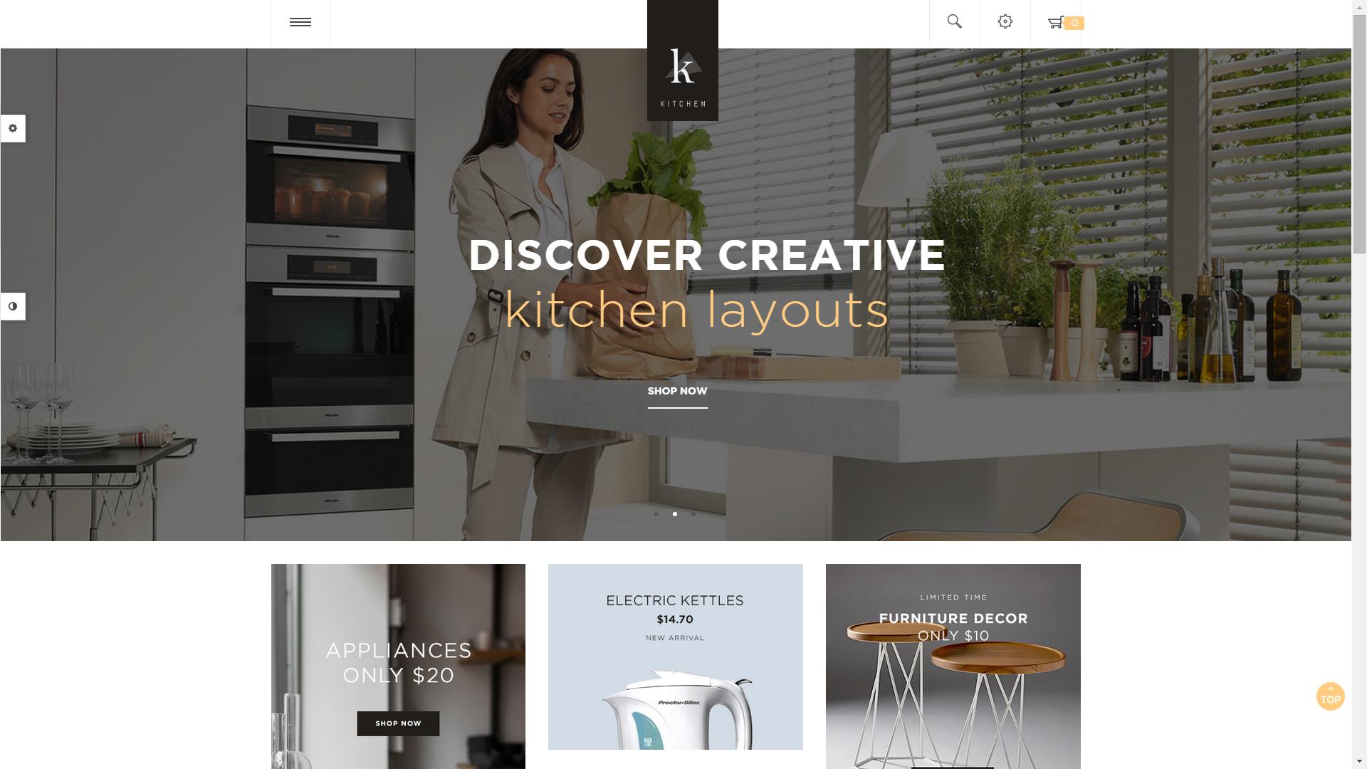Screenshot of Pav Kitchen e-commerce template for OpenCart