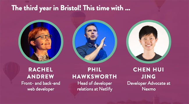 Rachel Andrew, Phil Hawksworth, and Chen Hui Jing, speakers at Pixel Pioneers Bristol