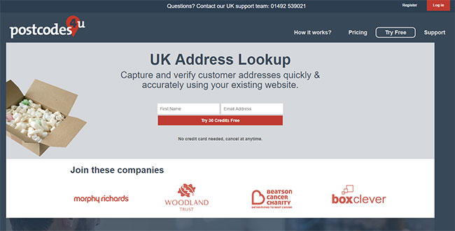 Homepage of Postcodes4u
