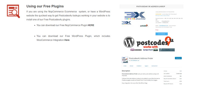 Plug-ins for NopCommerce and WooCommerce from Postcodes4u