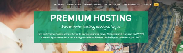 A screenshot of the Premium Hosting page