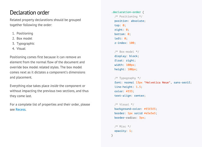 An example of code conventions in prototyping