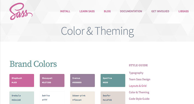 The color and theming section of the style guide for the Sass-lang website