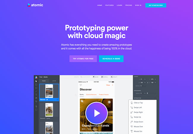 Screenshot of the Atomic prototyping tool home page