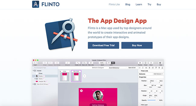 Screenshot of the Flinto prototyping tool home page