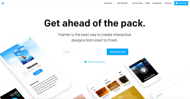 Screenshot of the Framer prototyping tool home page