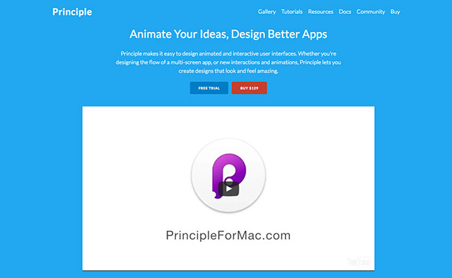 Screenshot of the Principle prototyping tool home page