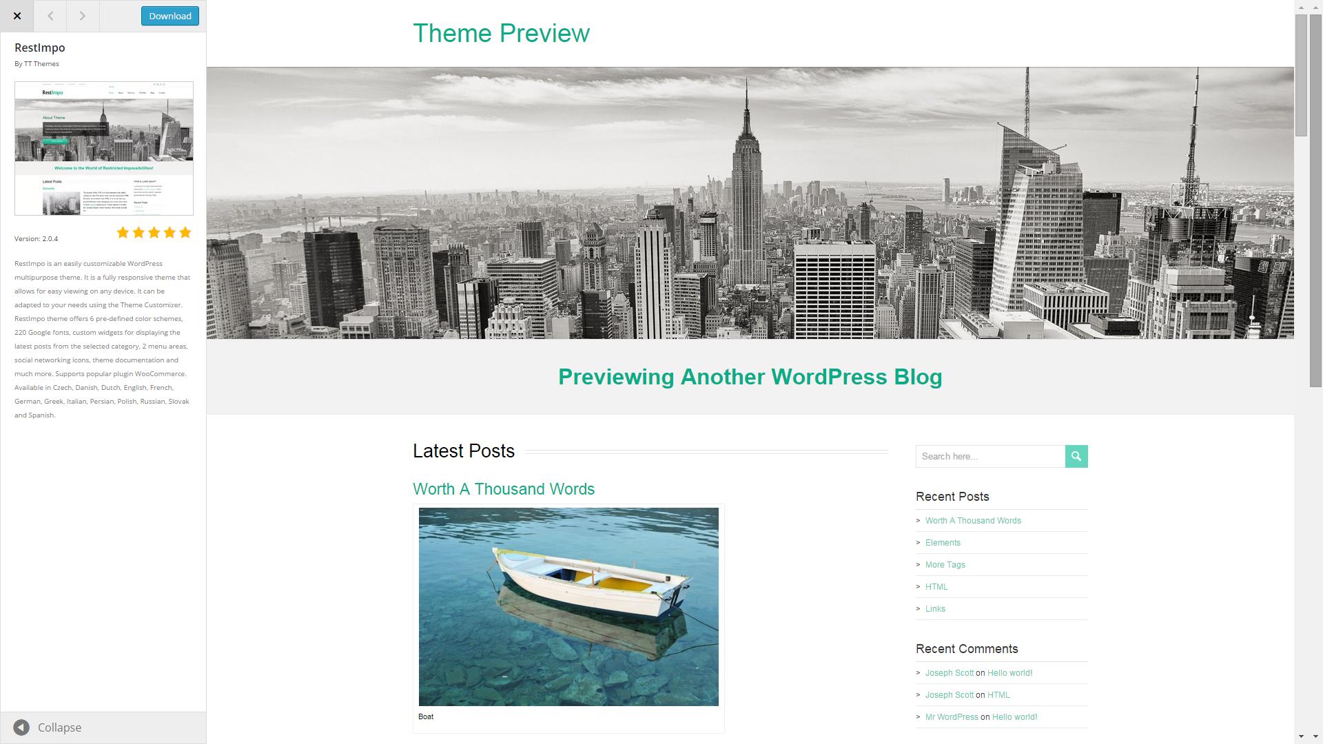 Screenshot of RestImpo e-commerce template for WordPress