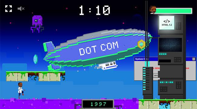 Our RunTheNet Hero walking through lag while the Dot Com blimp rises high in 1997