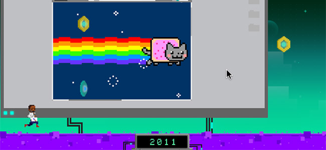 Our RunTheNet Hero running through lag with Nyan Cat in the background because it's 2011