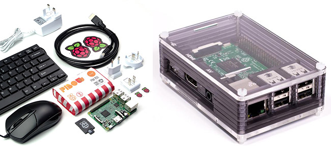 Photos of the Raspberry Pi Starter Kit and the Raspberry Pi 3 in the Ninja Pibow case