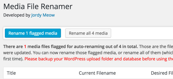Screenshot of the Media File Renamer WordPress Plugin
