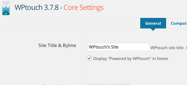 Screenshot of the WPtouch WordPress Plugin