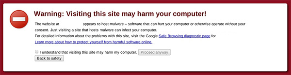 Warning page from Chrome