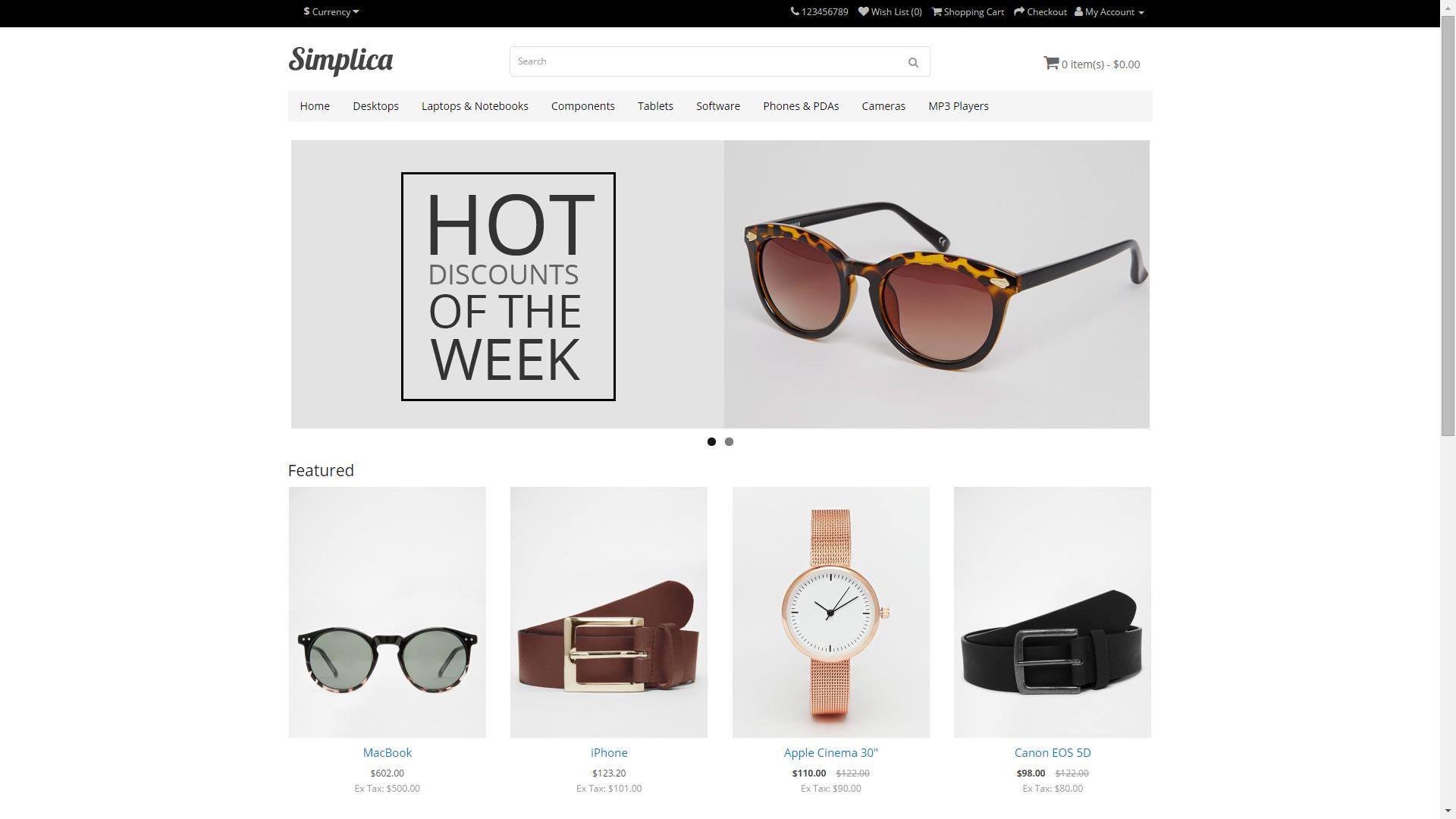 Screenshot of Simplica e-commerce template for OpenCart