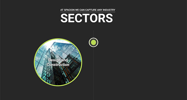 Screenshot of the Spacion's Sectors page