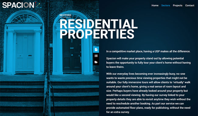 Screenshot of the Spacion's Residential Properties page