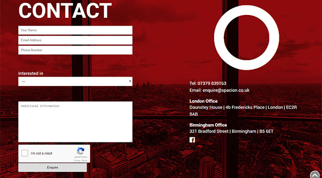Screenshot of Spacion's Contact Us section