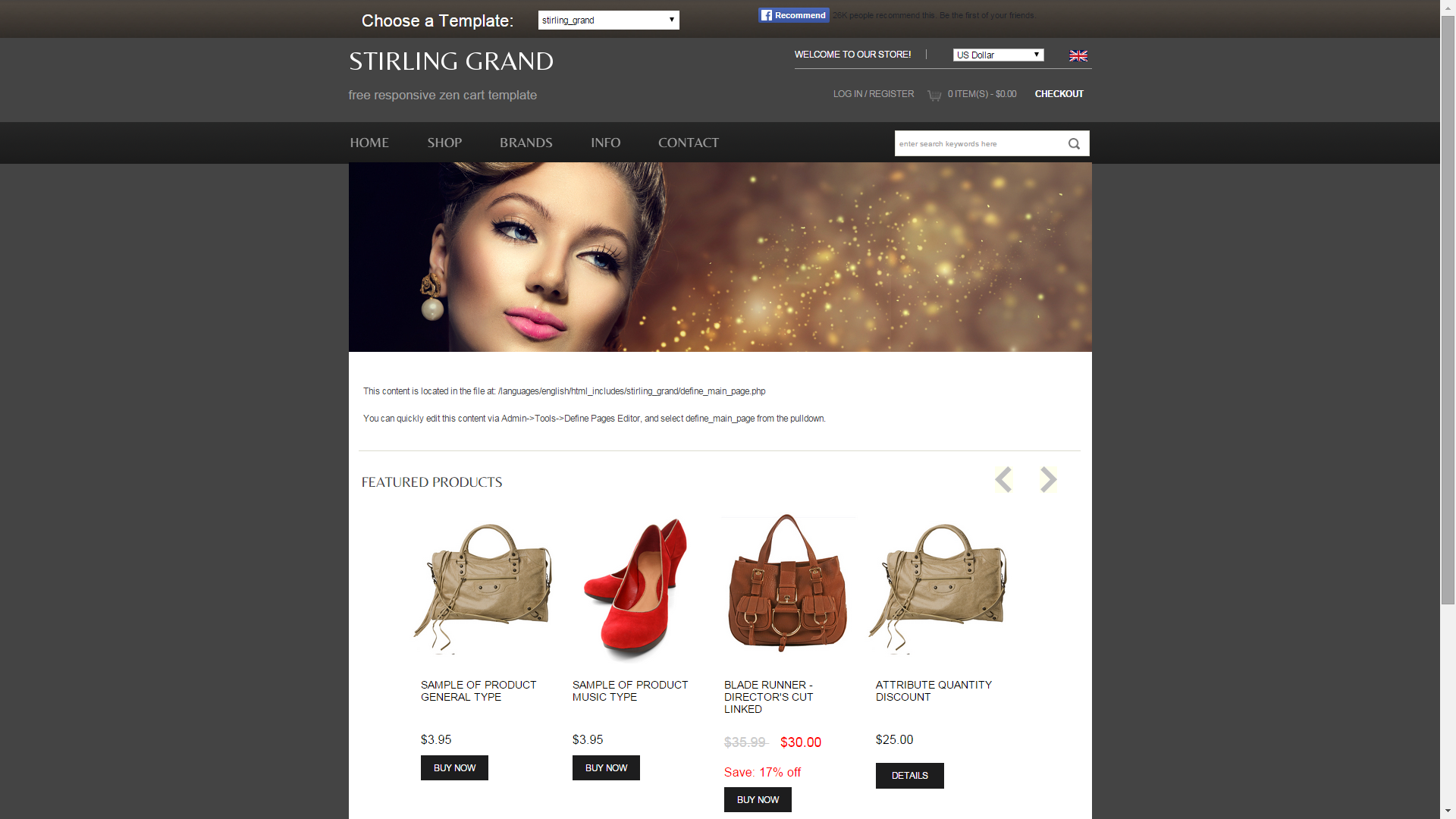 Screenshot of Stirling Grand e-commerce template for ZenCart
