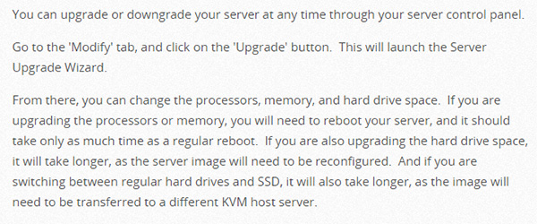 Screenshot of a guide explaining how to upgrade a server in the Heart Internet Support Database