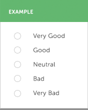 An example survey question, with the options being Very Good, Good, Neutral, Bad, and Very Bad