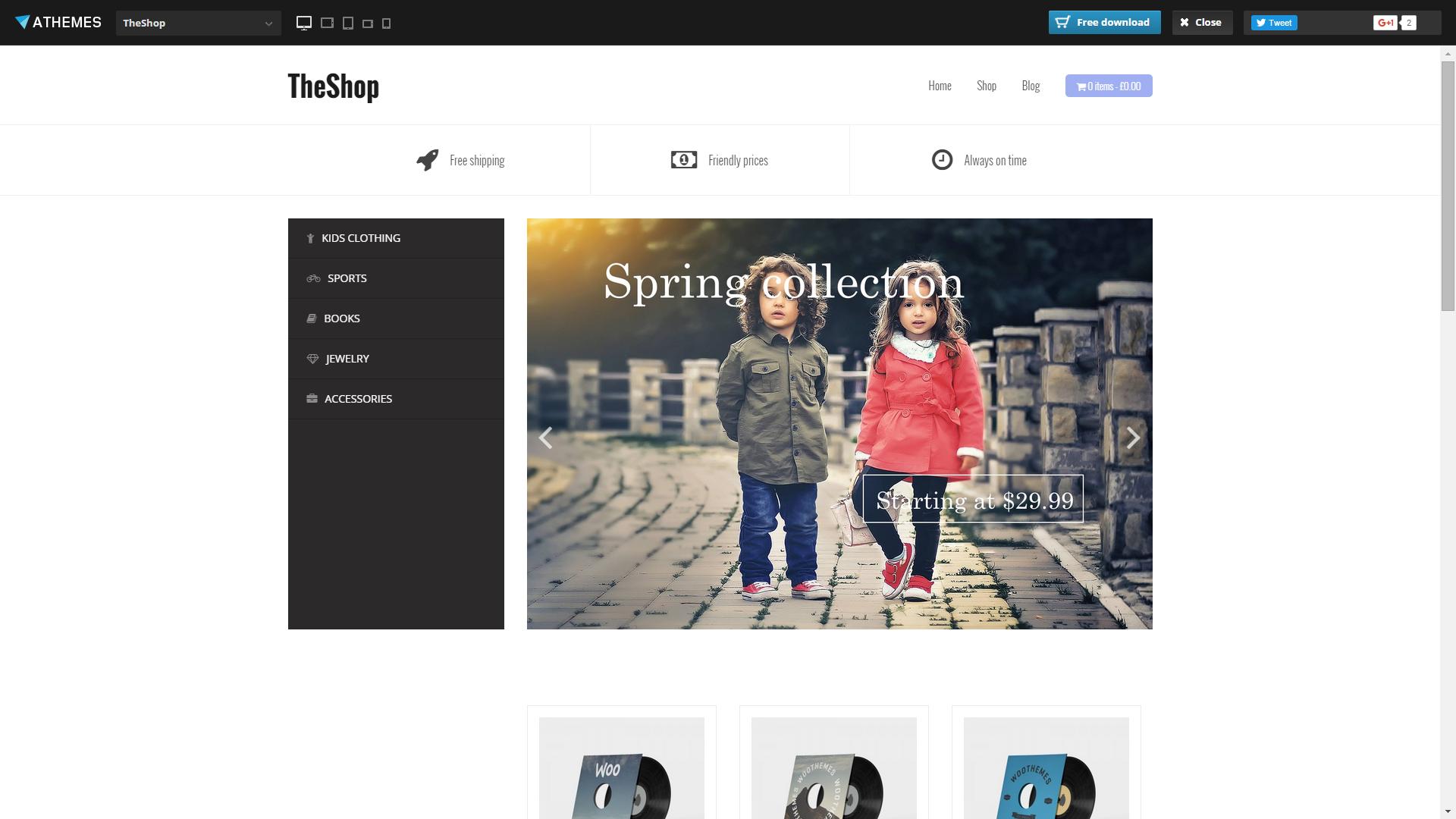 Screenshot of TheShop e-commerce template for WordPress