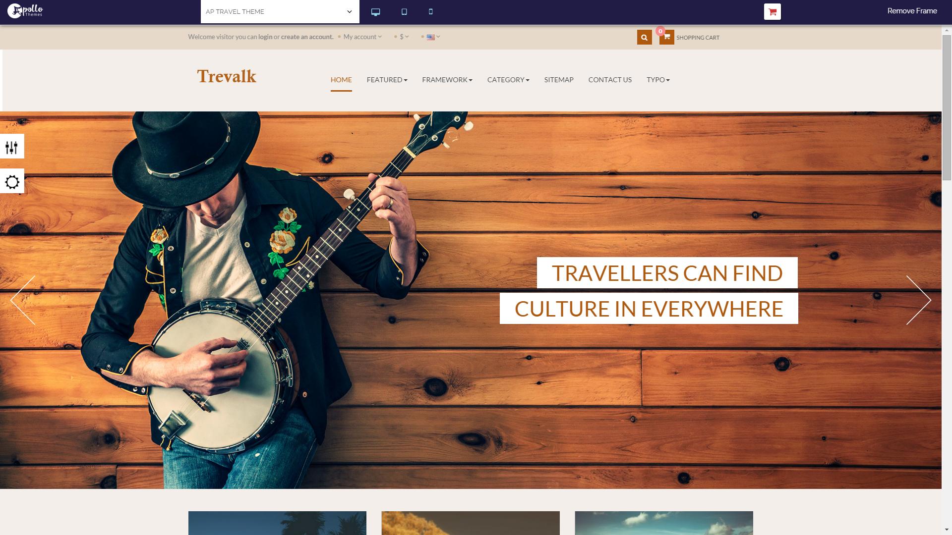 Screenshot of AP Travel e-commerce template for PrestaShop