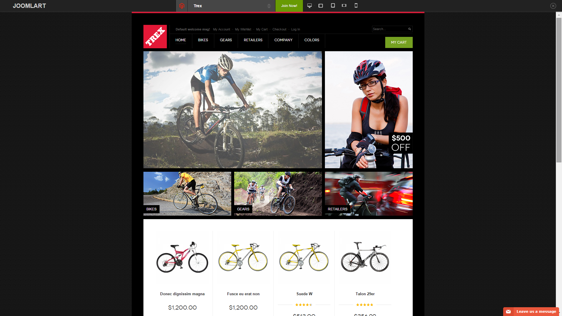 Screenshot of Trex e-commerce template for Magento