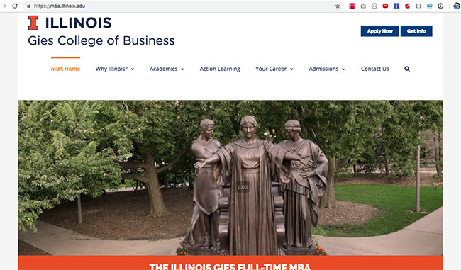 An example of a hero video on the university of Illinois website