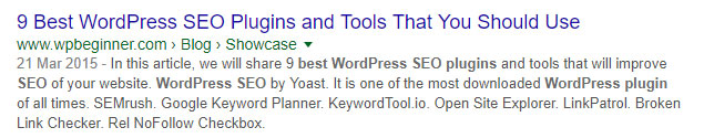 Screenshot of a Google search for 'best WordPress SEO plug-in'