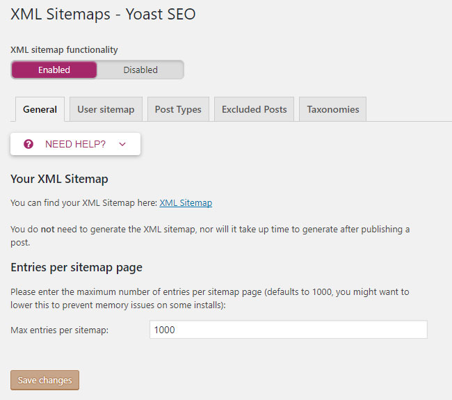 Screenshot of the Yoast plug-in showing the XML Sitemaps section