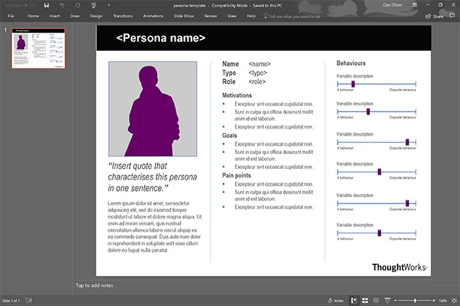 Screenshot of Thoughtworks' PowerPoint persona template