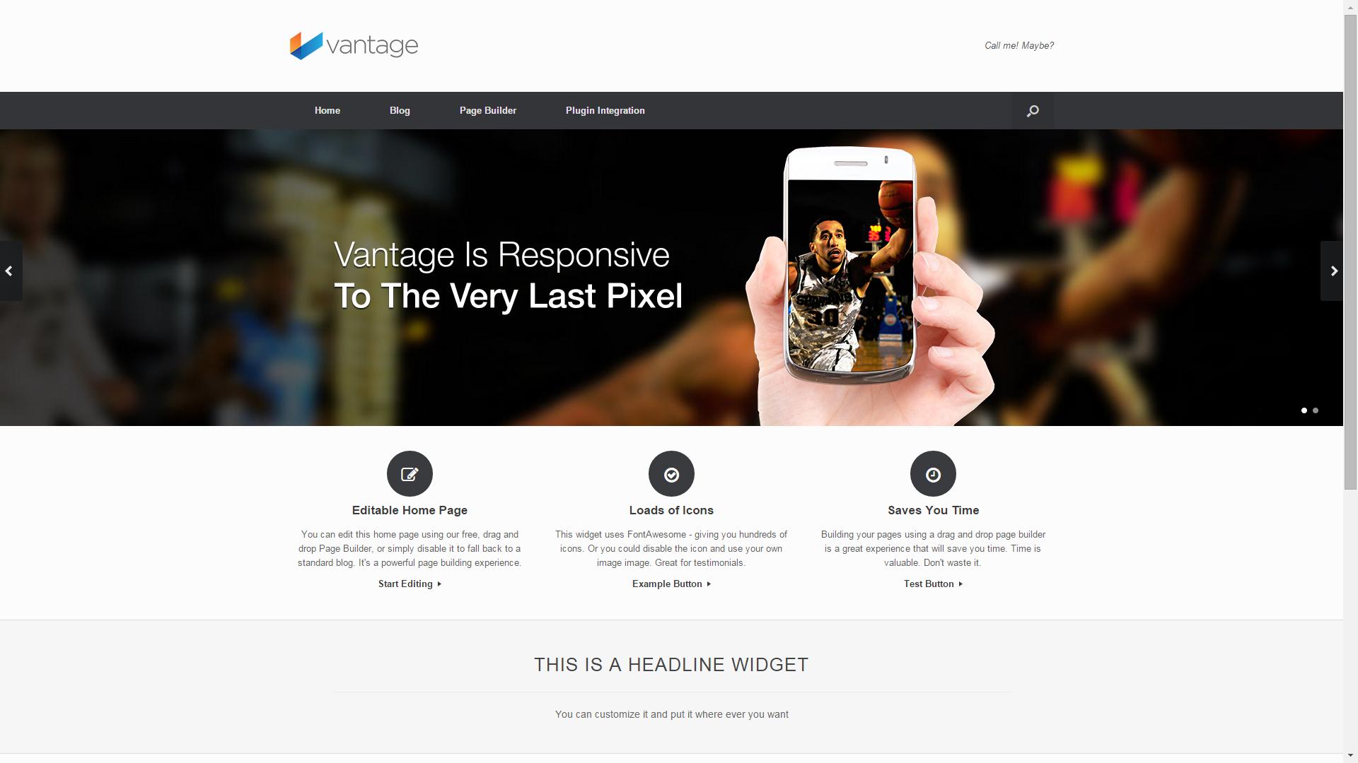 Screenshot of Vantage e-commerce template for WordPress