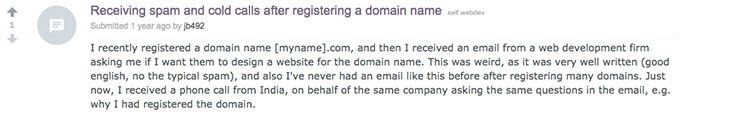 A Reddit post asking about receiving spam and cold calls after registering a domain name
