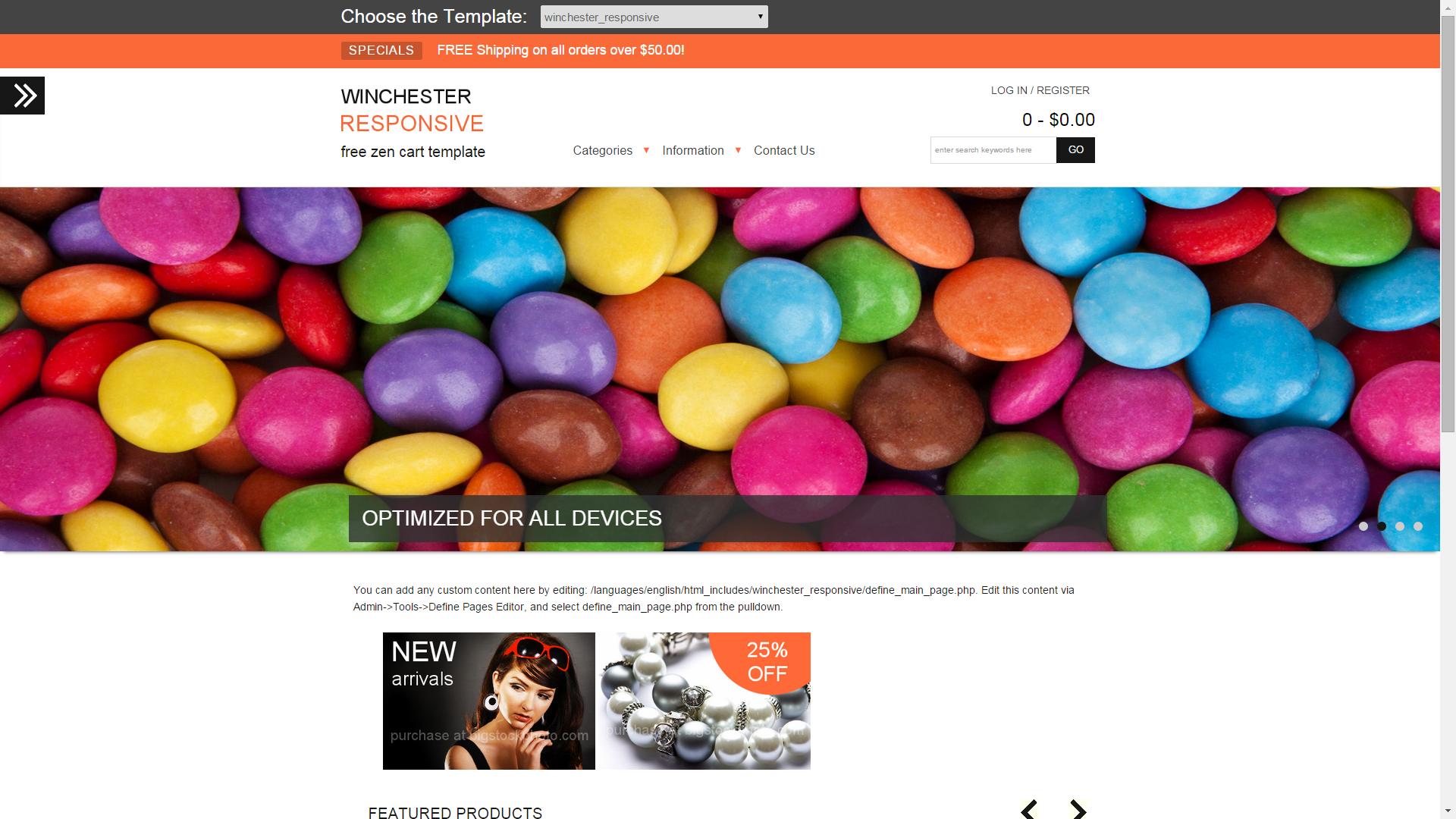 Screenshot of Winchester e-commerce template for ZenCart