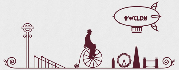 One of WordCamp London's header images, with a man on a penny farthing and a dirigible