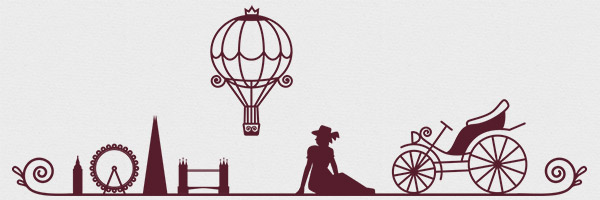 One of the header images from the WordCamp London website, including a woman, an automobile, and a hot air balloon